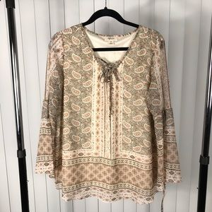 Style & Co Western Trail Blouse In Sadies Paisley